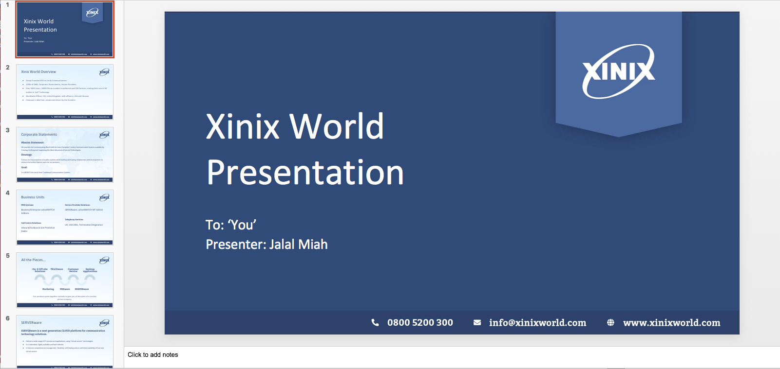 Xinix World Service Presentation